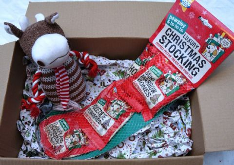 CHRISTMAS DOG TOY GIFT BOX WITH PLUSH COW & LUXURY TREAT FILLED STOCKING